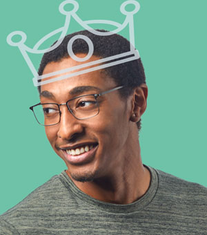 rectangular wire glasses frames on man wearing a cartoon crown